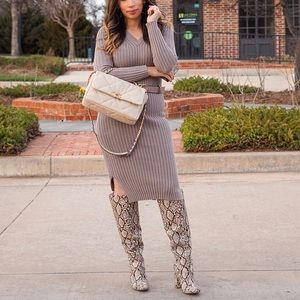 Ribbed Sweater Dress with slits